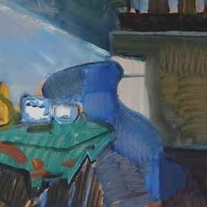 Image of Mid Century Swedish Oil Painting 'Interior' Ake Dahlberg