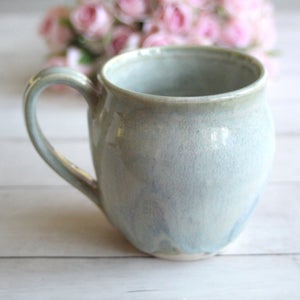 Image of Pottery Mug in Soft Sage Glaze, 15 oz. Handcrafted Stoneware Coffee Cup, Made in USA