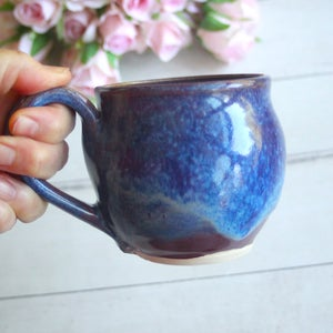 Image of Bright Blue Purple Mug, Handcrafted Stoneware Pottery Coffee Cup, Made in USA
