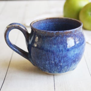 Image of Gorgeous Pottery Mug in Dripping Purple, Blue and Mauve Glazes, 14 oz. Coffee Cup, Made in USA