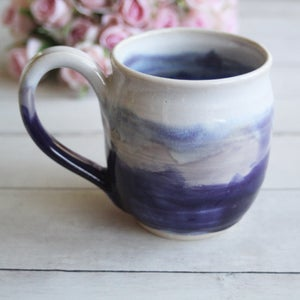 Image of Handmade Shades of Purple and White Mug, 15 oz. Stoneware Coffee Cup, Made in USA