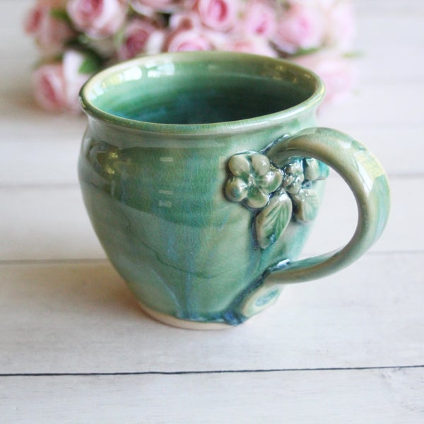 Image of Shimmering Green Pottery Mug with Floral Details, Coffee Cup 14 oz., Made in USA