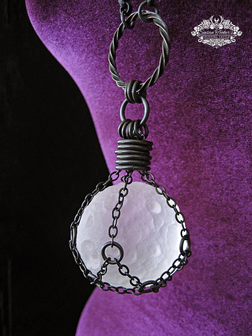 Image of THE SPIRIT MOON - Clear Quartz Crystal Moon Neclace Witchy Talisman Pagan Jewelry