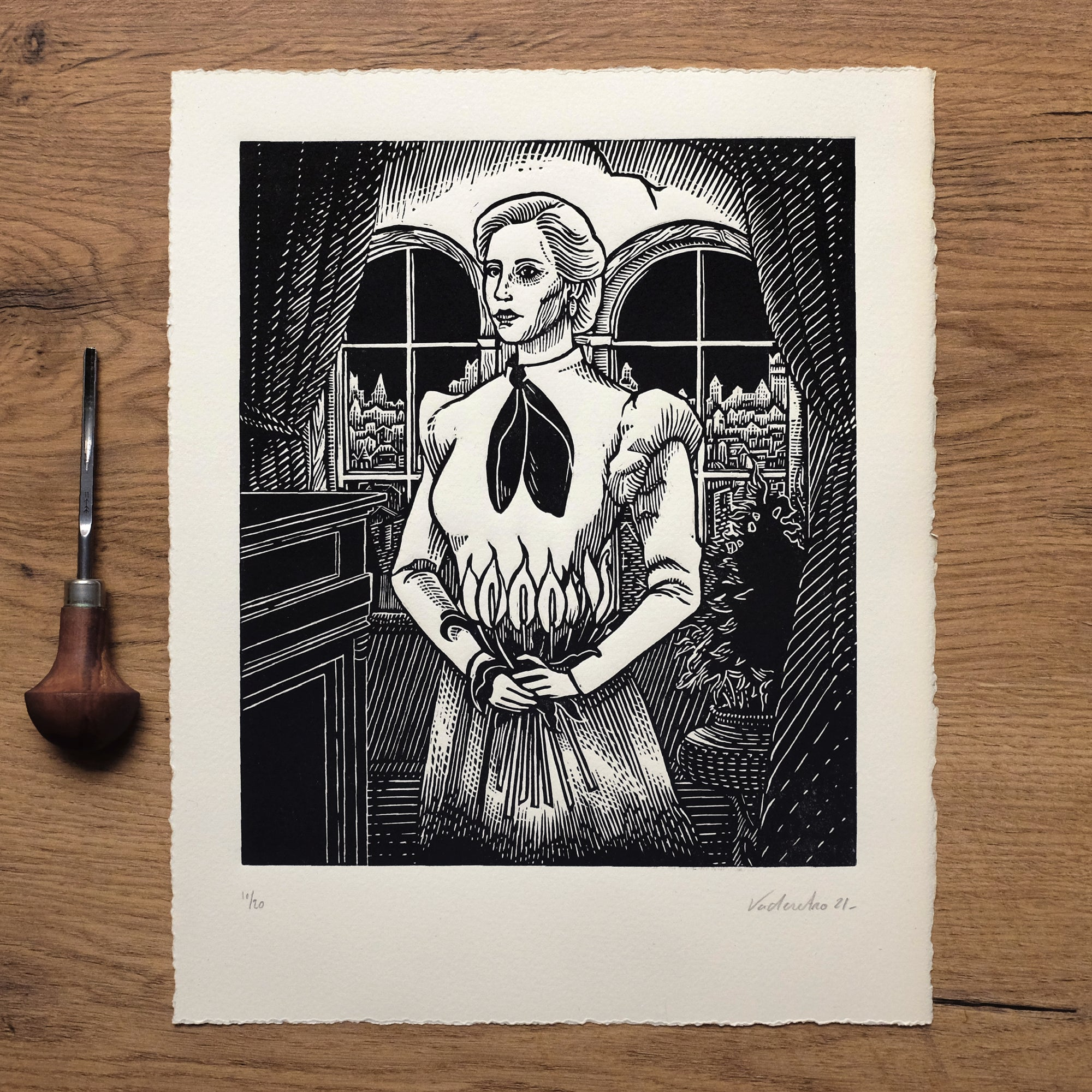 Image of BEFORE THE END<br>(linocut print)
