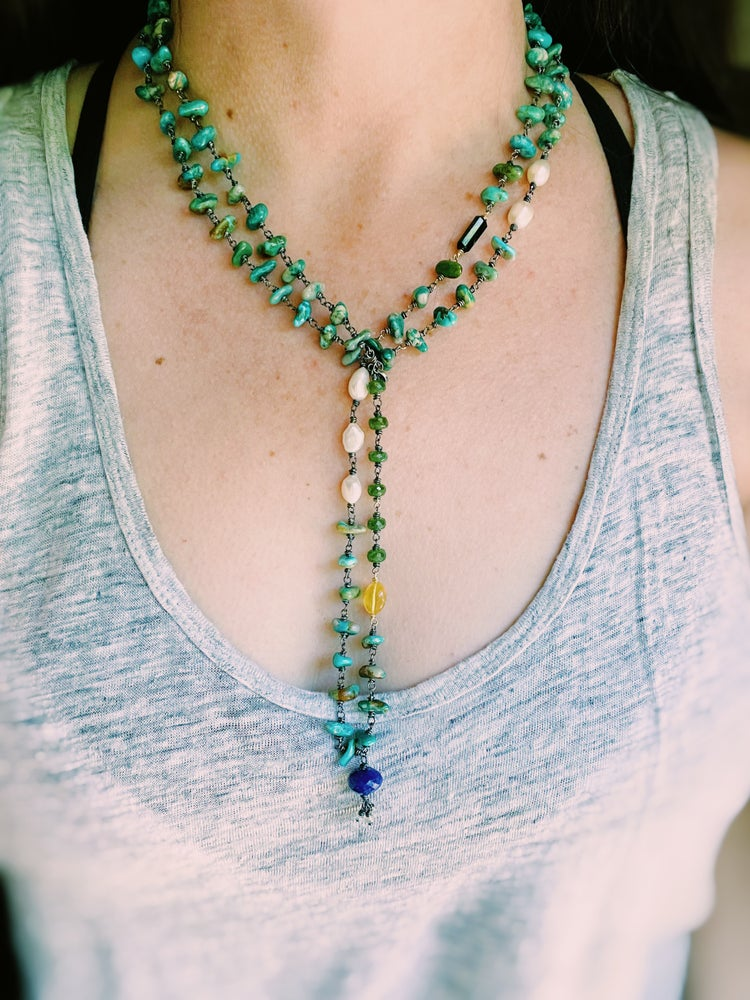 Image of Turquoise, vesuvianite, and lapis mala