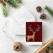 Image of Snow Deer Holiday Greeting Card - Holiday Stationery - New!
