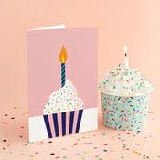 Image of Pink Cupcake Birday Greeting Card