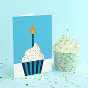 Image of Blue Cupcake Birthday Card