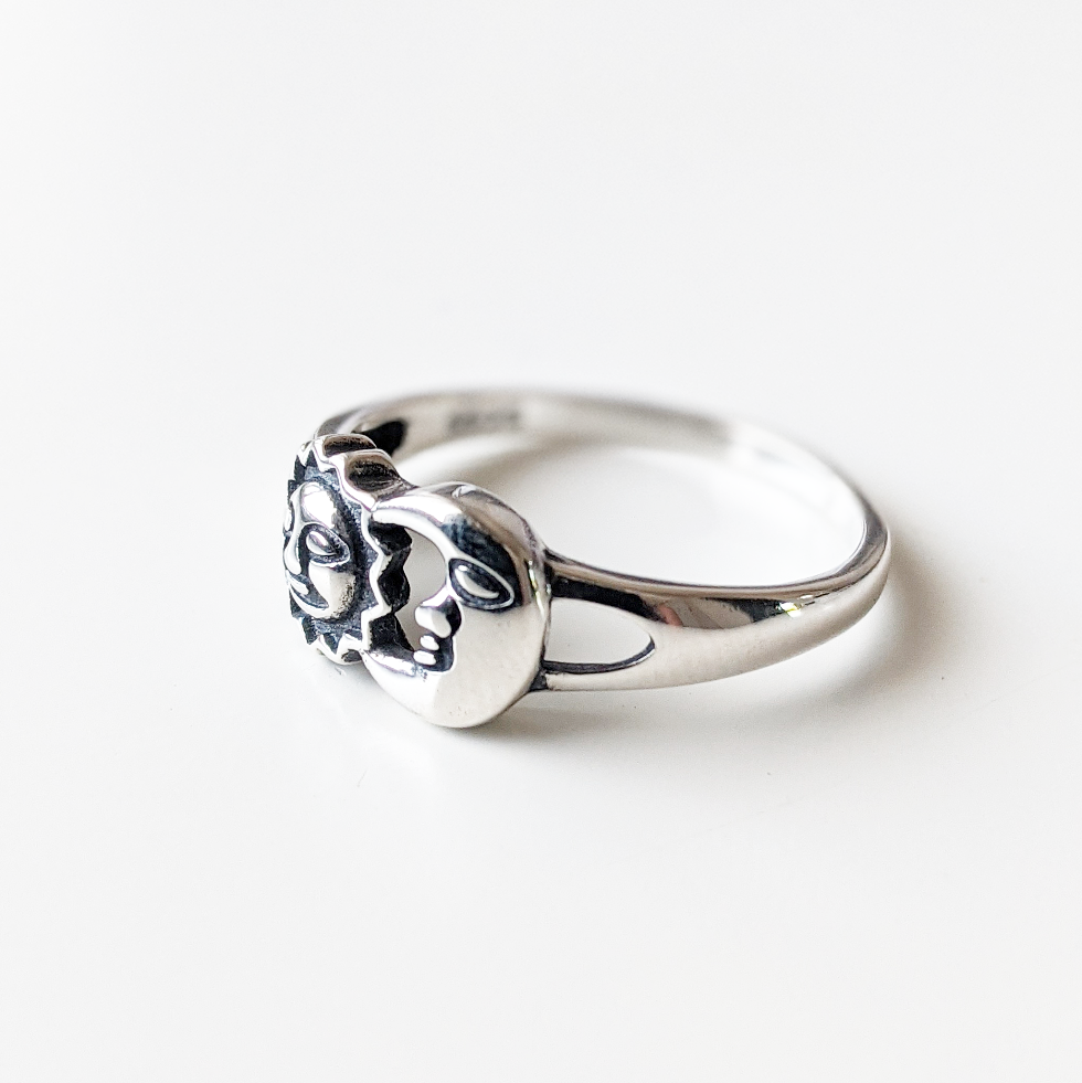 Image of Sterling Silver Sun & Moon Ring