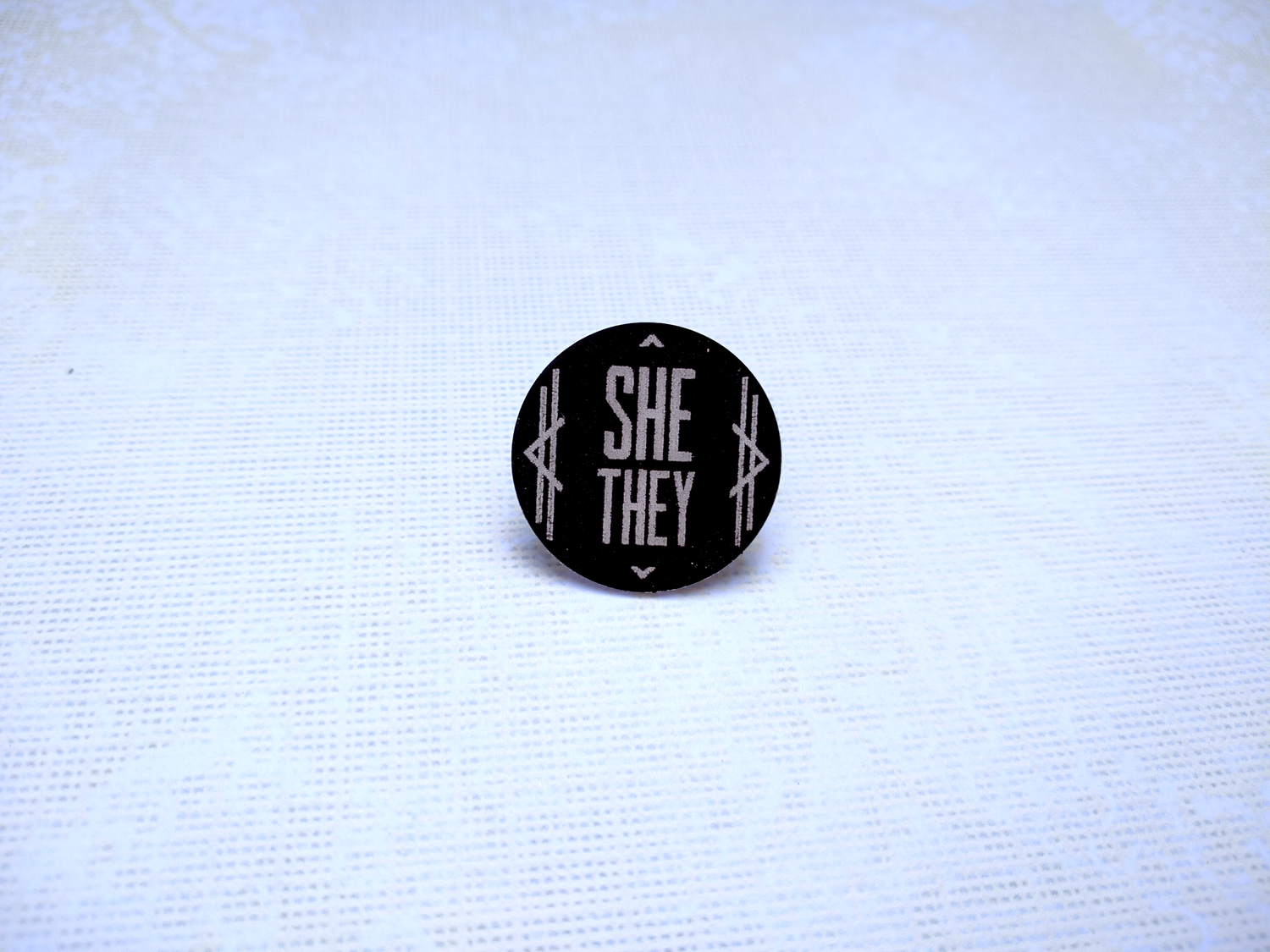 She/They Art Deco Columns Pronoun Pin (Pay What You Can)