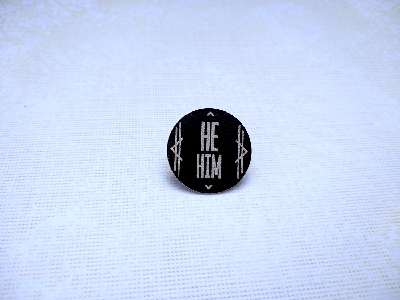 He/Him Art Deco Columns Pronoun Pin (Pay What You Can)
