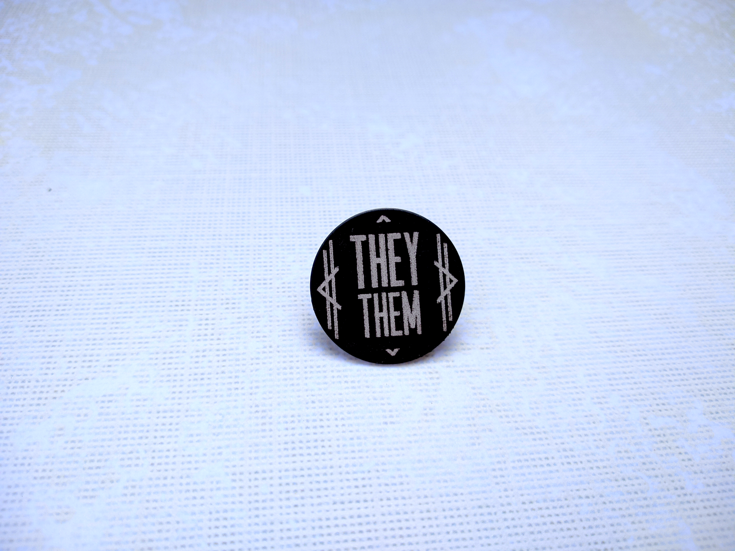 They/Them Art Deco Columns Pronoun Pin (Pay What You Can)