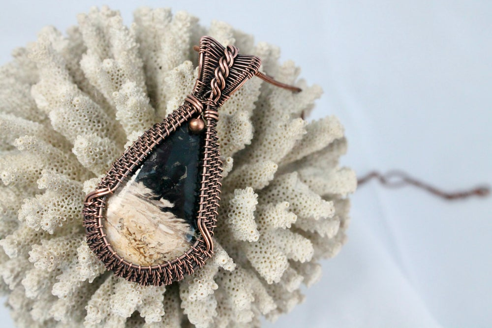"""Image of """"Aylla"""" Large Petrified Palm Root Wire Wrapped Pendant"""