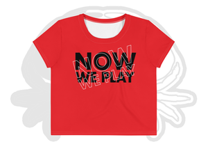 Image of Now We Play Misaligned Crop Tee Red