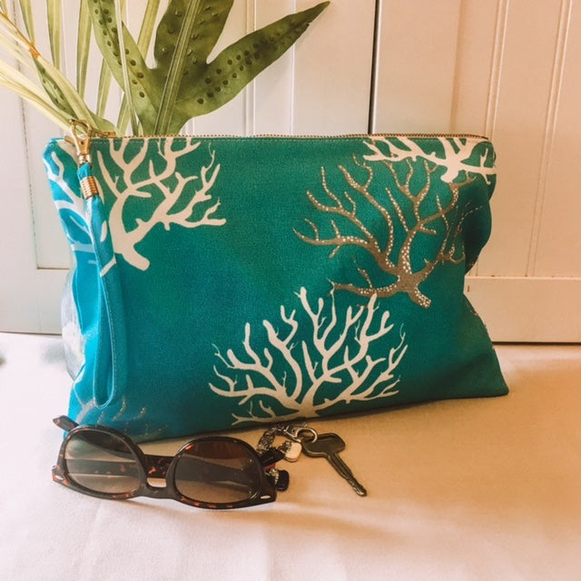 Crimson Coral Clutch, Pouch, Bag, Water Resistant, Durable, for Beach, Everyday, Durable, Handmade