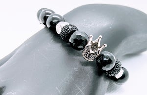 "Original ""Platinum/Black Crown Stretch Bracelet"""