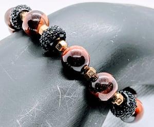 """Original """"Red Tiger Eyes - Black Pave Rondelle Stretch Bracelet"""""""