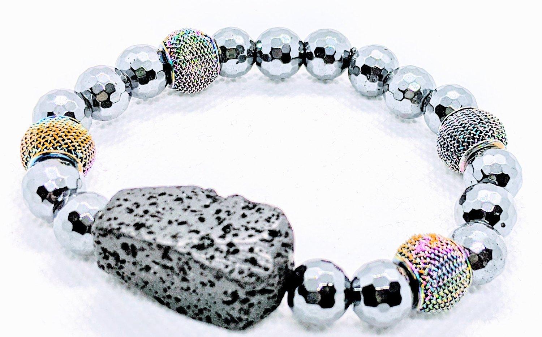 "Original "" Faceted Hematite Beads & Lava Rock Stretch Bracelet"""