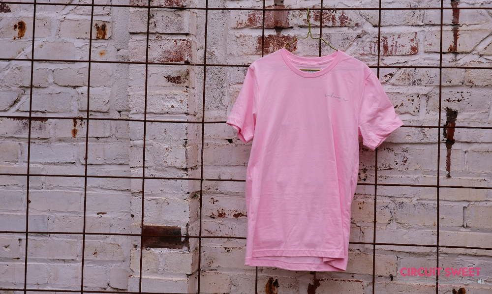 """Image of SILVER - """"AIR LIGHT""""  RELEASE PINK TEE - DOWD RECORDS X CIRCUIT SWEET COLLAB T-SHIRTS"""