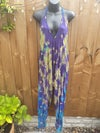 BOHO JUMPSUIT blue tie dye jewel