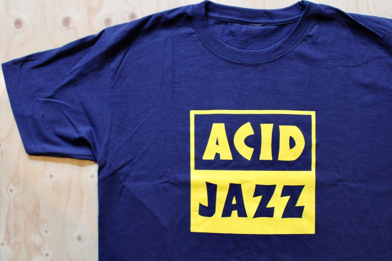 Image of Classic Acid Jazz Square T-shirt - Navy Blue and Yellow Square Logo