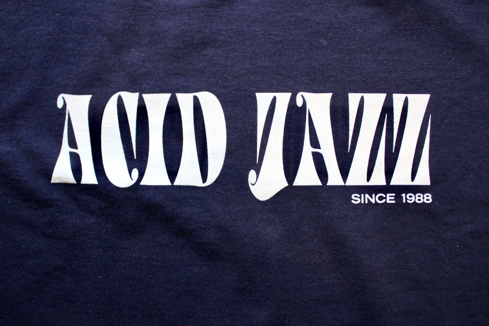 Image of Black and Silver Acid Jazz T-shirt (Galliano Font)