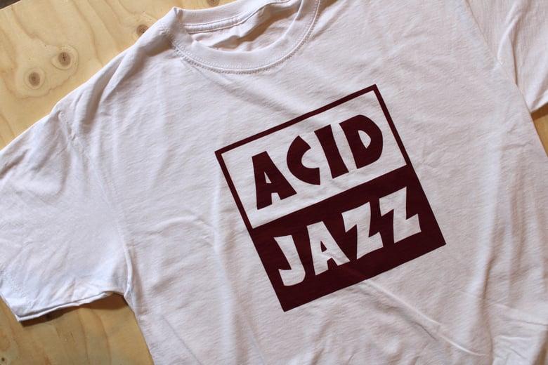 Image of Classic Acid Jazz Square T-shirt - White and Burgundy Square Logo