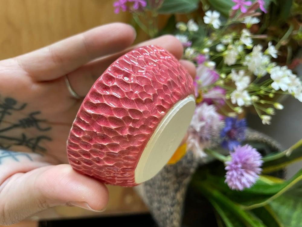 Image of Pink and green carved salt bowl