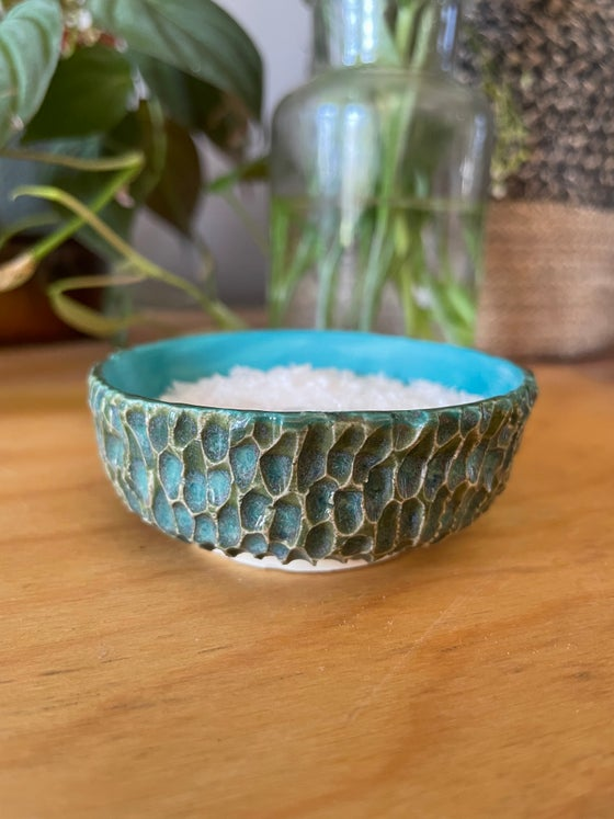 Image of Teal and green carved salt dish