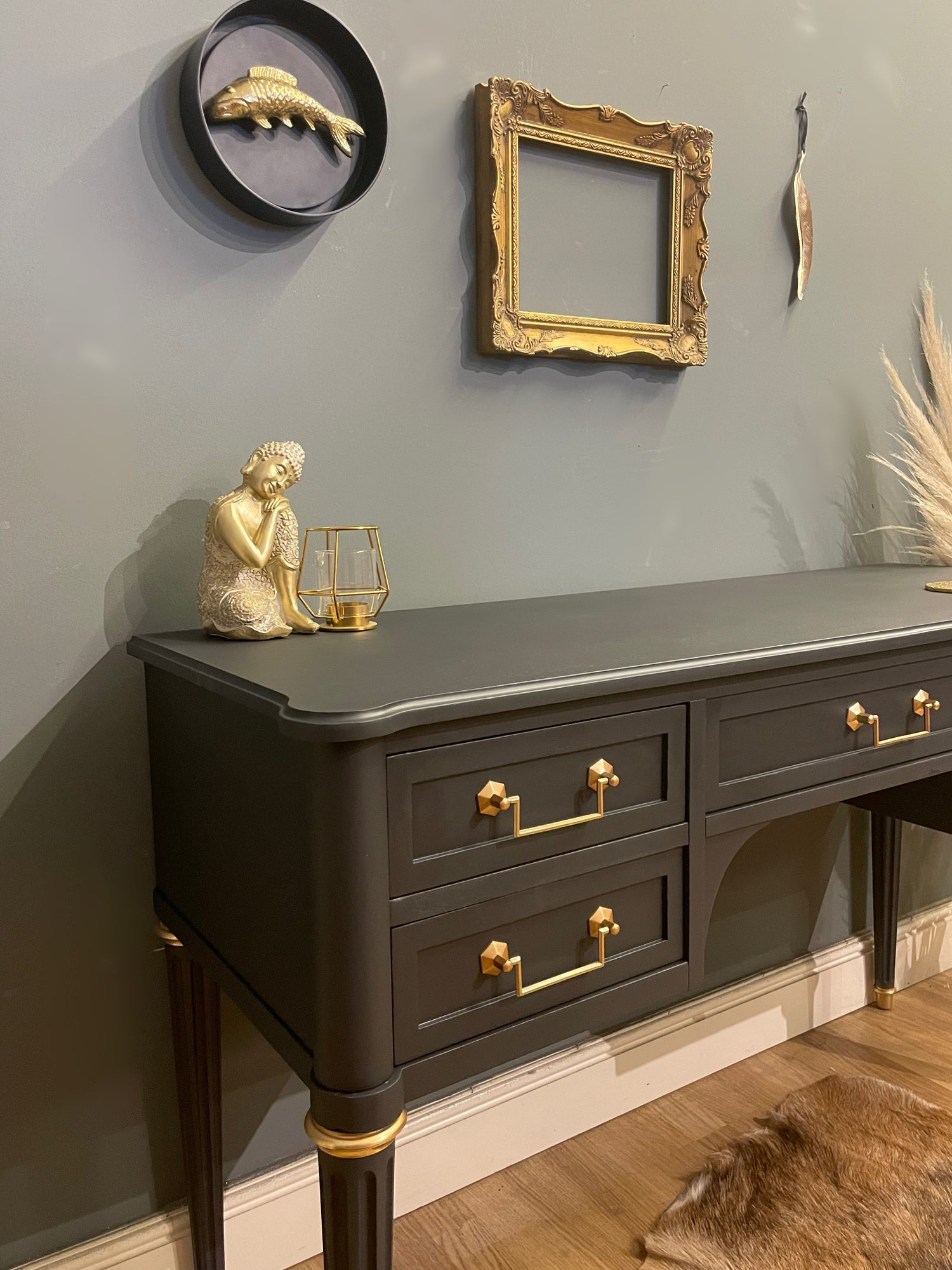 Image of Stunning stag dressing table/desk in dark grey