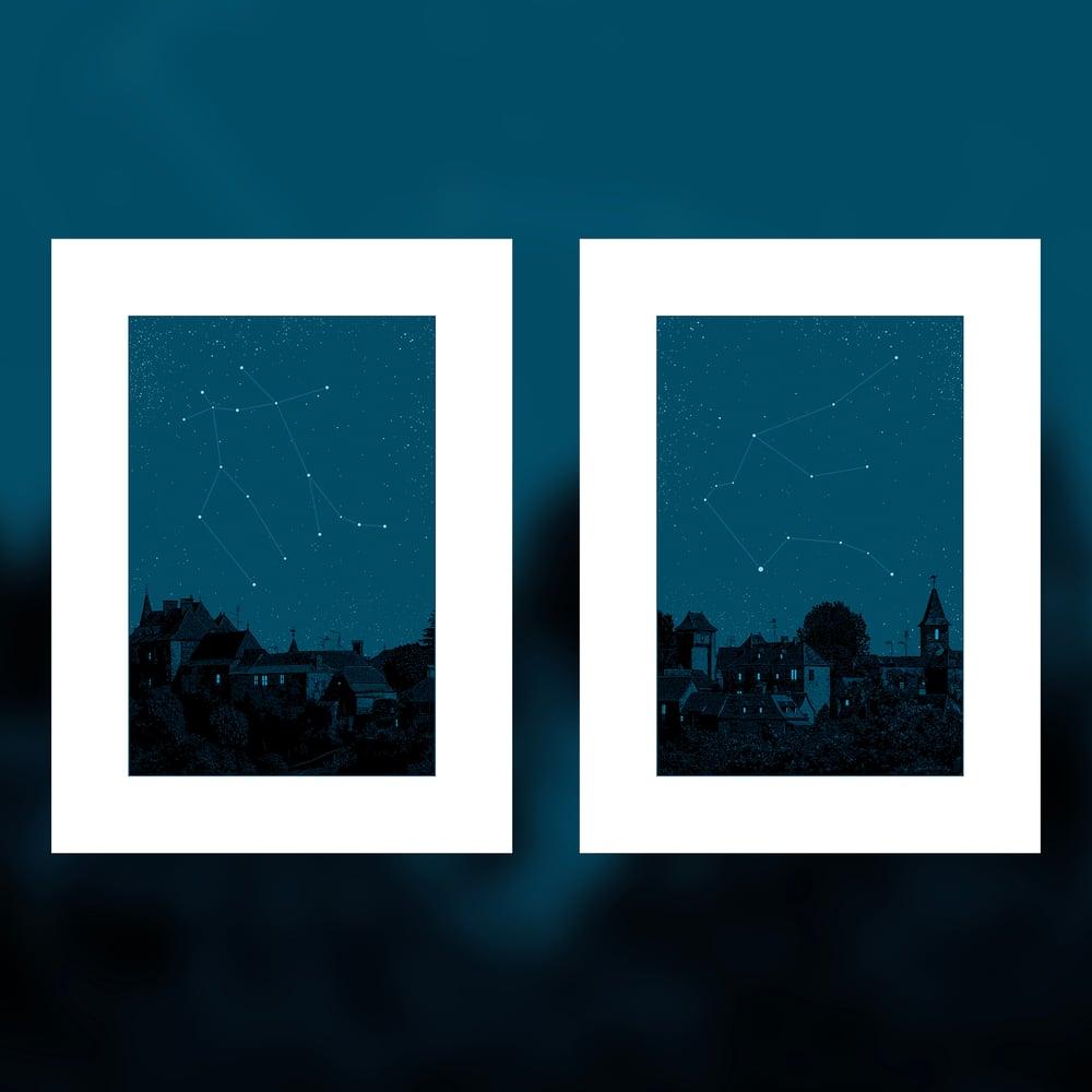 "Image of ""Night on Earth"" - 9 & 10 - GEMINI & AQUARIUS - 2 PRINT SET"