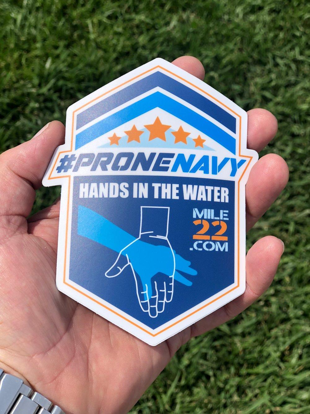 Image of Prone Navy Sticker