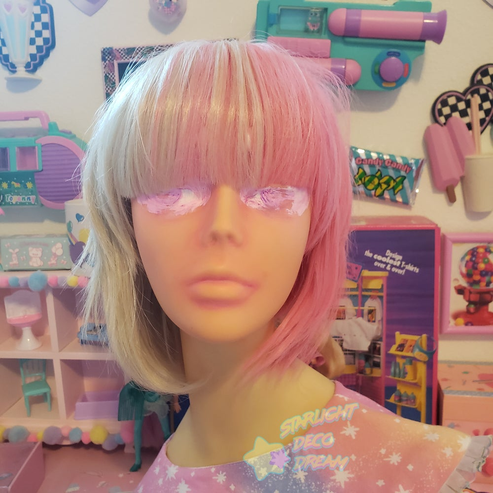 """Image of """"Cotton Candy"""" Two-Tone Split Blonde / Candy Pink Sweet Lolita Wig Set"""