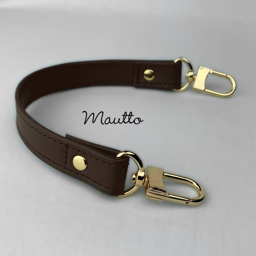 Image of Leather Top Handle for LV Odeon PM / MM Bag & more - 3/4 inch Wide - Gold U-shape #16LG Clasps