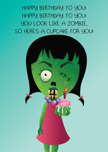 "Image of ""Zombie Cupcake"" greeting card"