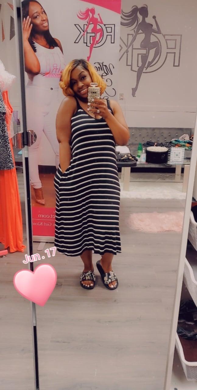 Image of Black/ white stripe sundress