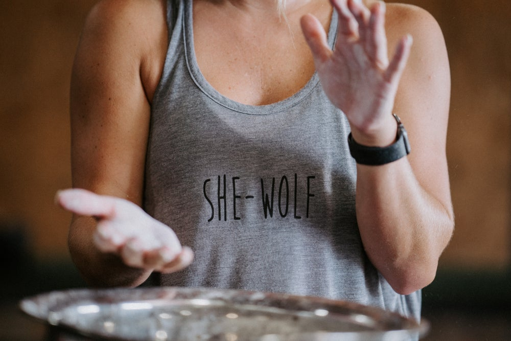 Image of She-Wolf Crop Top Tank (Heather Grey)