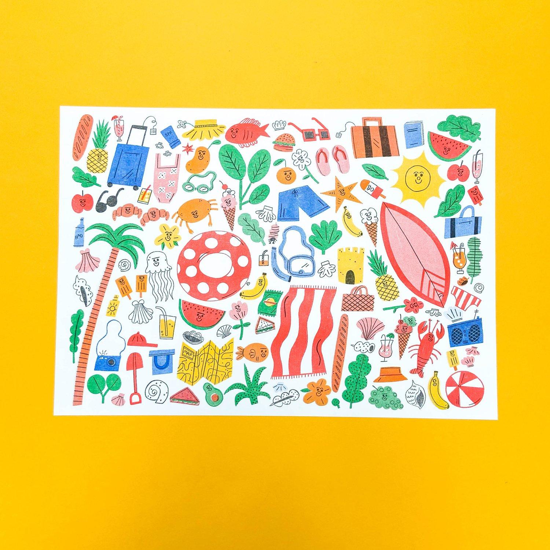 Image of Summer Essentials A3 Risograph Print