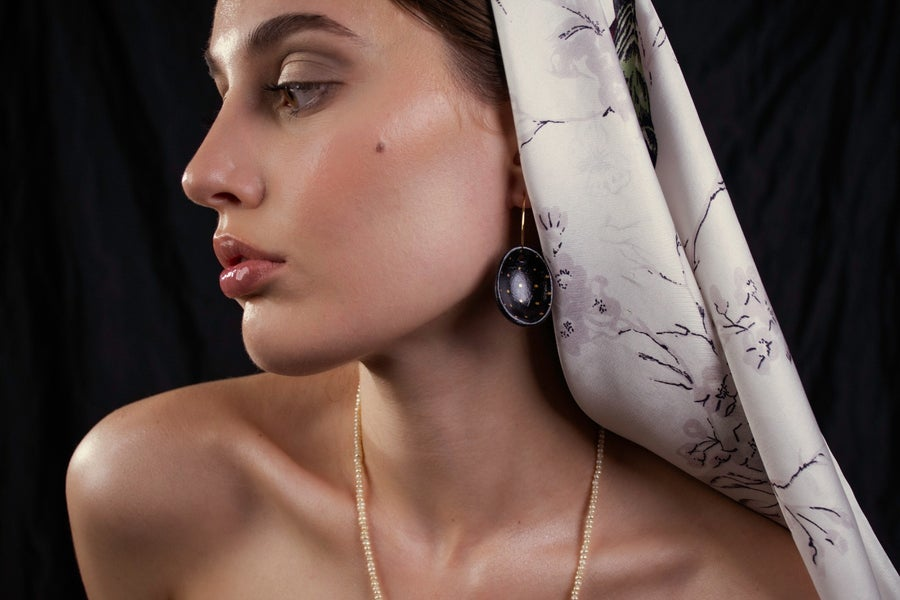 Image of Eggshell Earrings in Black with Golden Dots