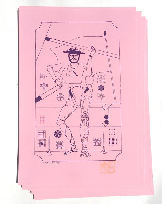 Image of 2 OF WANDS screen print by CF (shipping included)