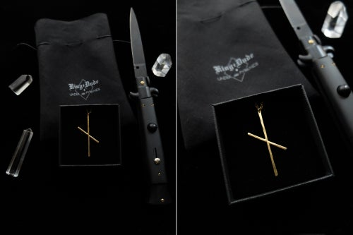 Image of VERMEIL NAUTHIZ VÖRDR. KING DUDE COLLAB. 13/13 ↟ Gold plated silver. w/ pouch & card signed by KD