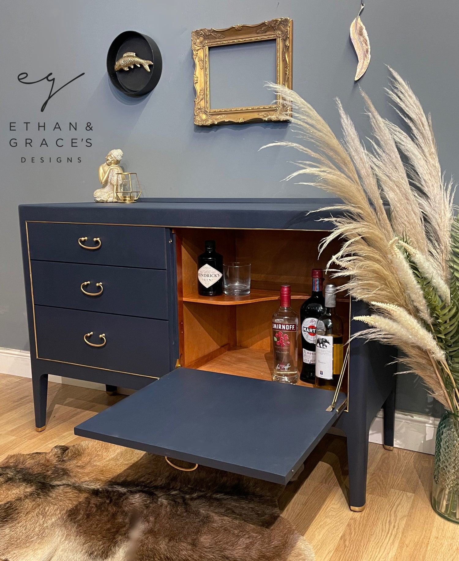 Image of stunning navy blue drinks sideboard