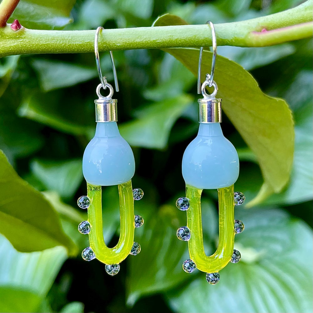 Image of Dotted Yellow Saber Dangles