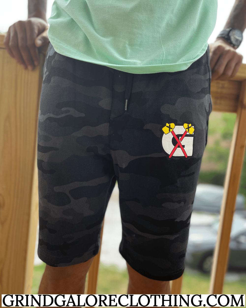 Black Camo GrindHawks Sweat Shorts