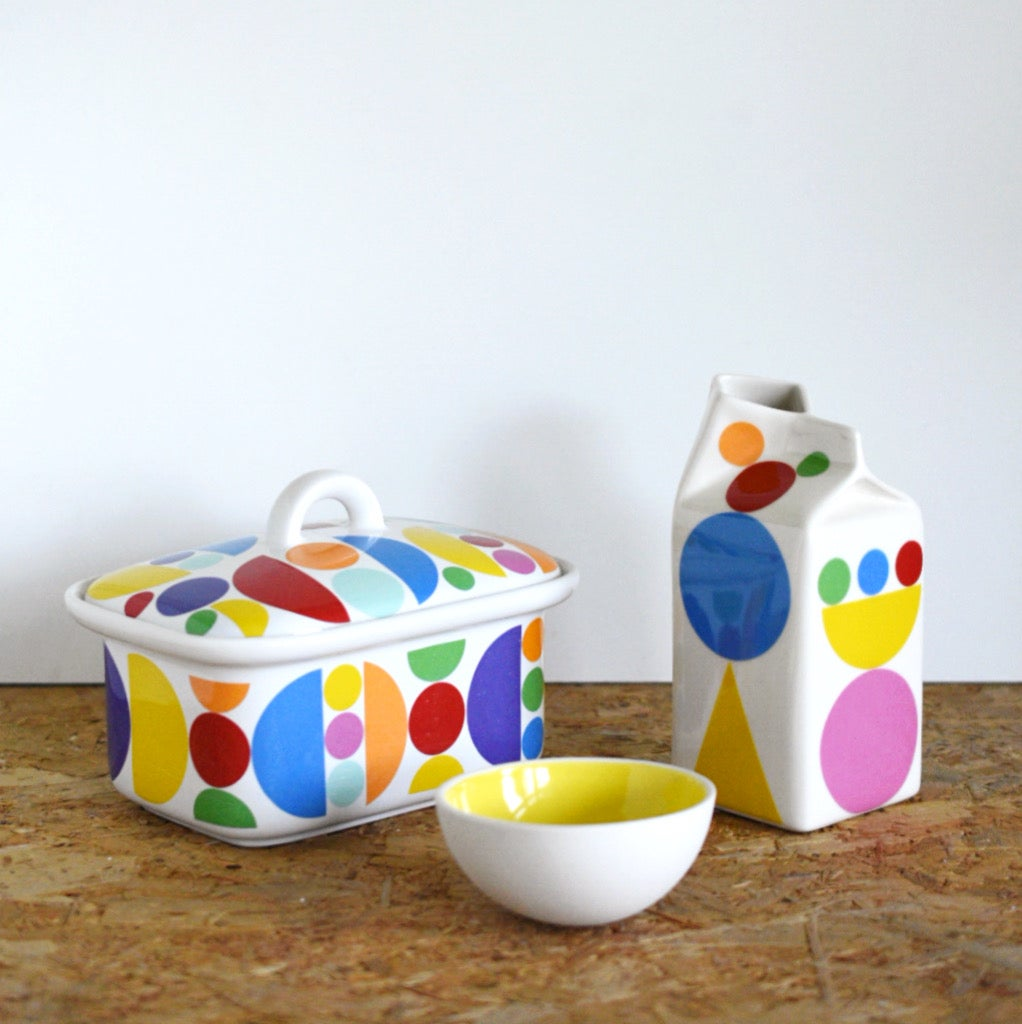 Image of Geometric pattern milk jug or butterdish
