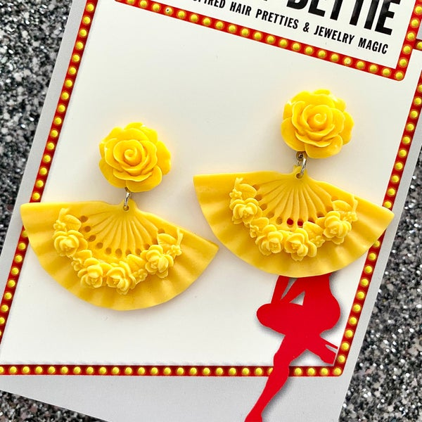 Image of Tokyo Rose Fan earrings - Yellow