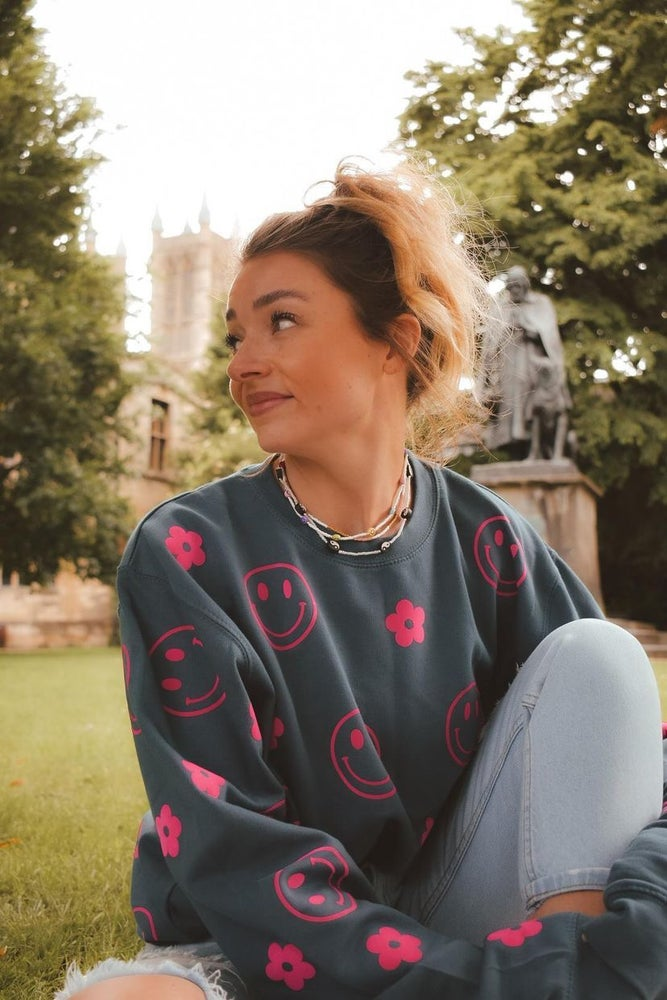 Image of Happy dais blue and neon sweater