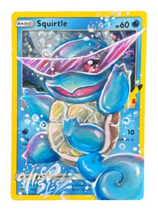 Image of Holographic Squirtle Pokemon Card Painting
