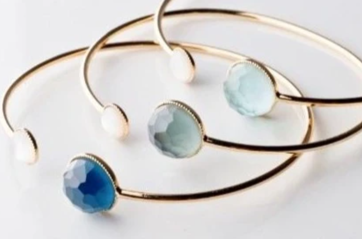 Image of Two Stone Bangles (6 Colors)