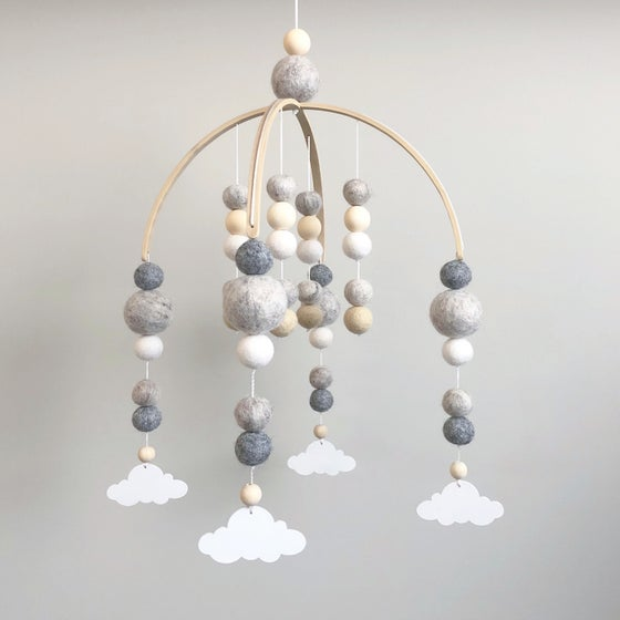 Image of Neutral felt ball mobile with white clouds